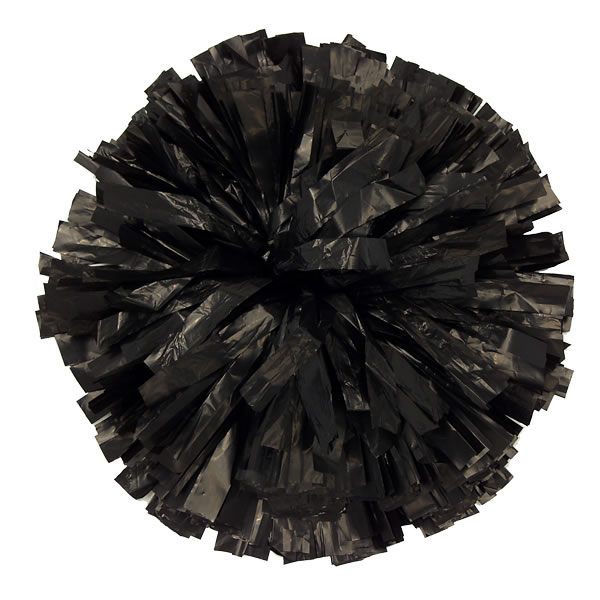 black plastic pom pom for dance and cheerleading performances
